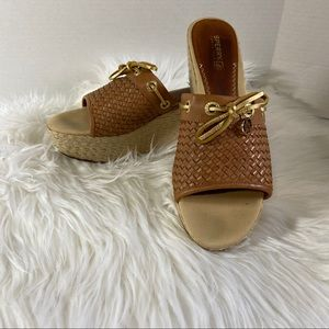 SPERRY Woven Espadrille Wedge Slide Size 8M